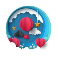Kärlekballongillustration. Alla hjärtans dag. Moln, stjärna, himmel.