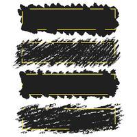 Trendiga banderoller, gränser av bläckborstslag, vektoruppsättning vektor