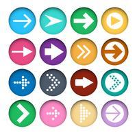 Vektor uppsättning av olika färger Pilar ikoner i skär pappersknappar