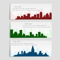 Vektor uppsättning banderoller med stadssilhouetter, platt stil