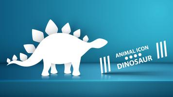 Papper dino, dinosaurillustration på den blå studion. vektor