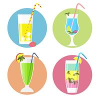 Set med cocktails ikoner, platt stil