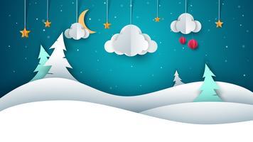 Vinterlandskap - papper illustration.