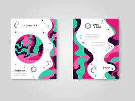 Modern broschyr täcker set, futuristisk design med trendiga färger