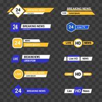 Vektorsatz Fernsehfahnen und -stangen für Nachrichten und Sportkanäle vektor