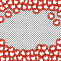 Gilla ikoner gränsen, ram med spridda klistermärken skära papper hjärtan vektor