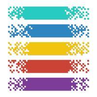 Sats av färgabstracta pixelbanor med skuggor för rubriker vektor