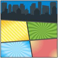 Tegneserie sidor mall med olika radiala bakgrunder och stadssilhouette
