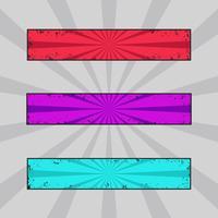 Vektor uppsättning grungy färgade banderoller, grunge headers med retro strålar