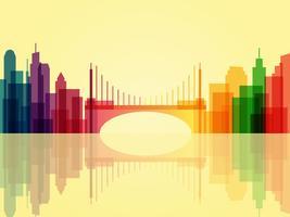 Snygg genomskinlig stadsbildsbakgrund med bro och reflektion