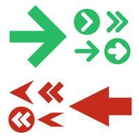Rote und grüne Pfeilikonen, Vektorsatz