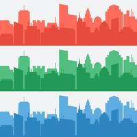 Vektor uppsättning banderoller med färgade stads silhuetter
