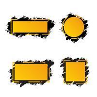 Gelbe Rahmen mit schwarzen Pinselstrichen für Text, verschiedene Formen der Fahnen