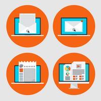 Set av ikon för konceptet e-postmarknadsföring, online-nyheter i platt stil