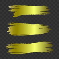Gyllene texturerat penselsträckor, vektoruppsättning