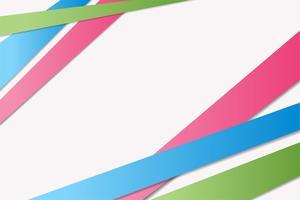 Ljusgrön, blå, rosa band med skuggor, abstrakt bakgrund vektor
