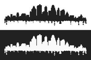 Vektor tecknad film blottar stiliserade cityscape silhuetter, svart och whte