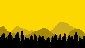 Svart silhuett av stad och berg