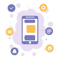 Smartphone mit apps Ikonen, flaches Konzept des Entwurfes der Mobilkommunikation
