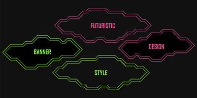 Vektor uppsättning geometriska linjära neon banderoller, ramar