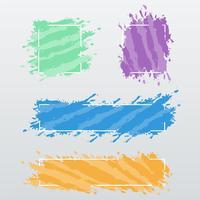 Moderna banderoller, ramar av färgborstslag, vektoruppsättning vektor