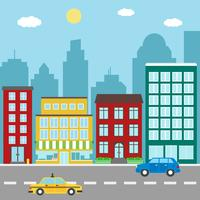 Stadslandskap med byggnader, butiker, bil och taxi