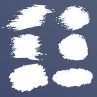 Weißer Schmutzvektorsatz, Bürstenflecke, Anschläge, Fahnen