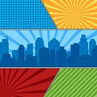 Comic book sidmall med radiala bakgrunder och stadssilhouette