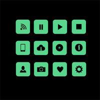 12 Vektor-Web-Icons im flachen Stil