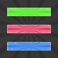 Grungy färgade banderoller, grungehuvud med retro strålar, vektor uppsättning