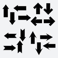 Vektor uppsättning av olika svarta pil ikon