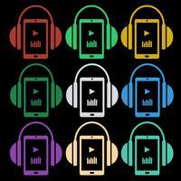 Set med musikikoner - hörlurar med spelare