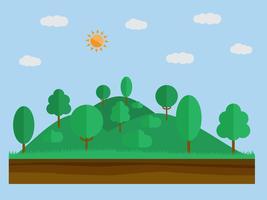 Naturlandskap i platt enkel stil med skog