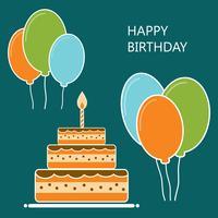 Födelsedag vykort design platt stil vektor