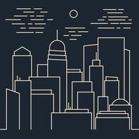 Snygg Nattmodern stad Linjekonst vektor