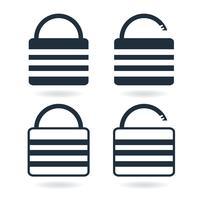 Kreativ låsikon i trendig platt stil isolerad på vitt