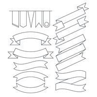 Vektorsatz der flachen Linie Art der verschiedenen geformten Bandfahnen vektor