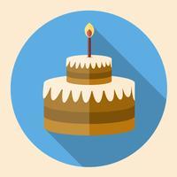 Flache Ikone des Schokoladen-Geburtstagskuchens mit langem Schatten