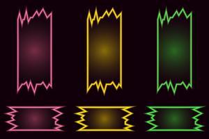 Satz kreative geometrische helle Neonvektorfahnen auf schwarzem Hintergrund