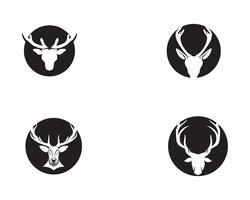 Rotwildkopfvektor-Logoschwarzes