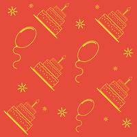 Seamless mönster med födelsedagstårta och ballonger