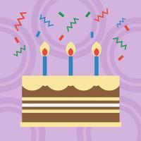 Födelsedagstårta platt design vektor