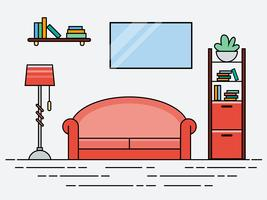 Platt linjärt modernt vardagsrum med rosa soffa