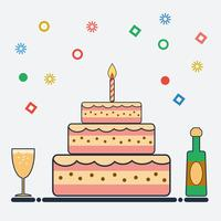 Födelsedagsdesign i platt stil