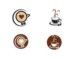 Kaffekopp Logo Mall vektorikon