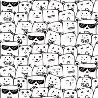 Söt björnar Doodle Art Pattern Bakgrund. Vektor illustration.