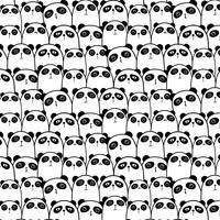 Gullig Panda Vector Mönster Bakgrund. Rolig Doodle. Handgjord vektorillustration.