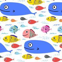 Abstrakter bunter Fisch-Muster-Hintergrund. Vektor-Illustration.