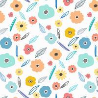 Muster mit Blumen und Blättern auf weißem Hintergrund. Hand gezeichnetes Gewebe, Geschenkverpackung, Wandkunstdesign.