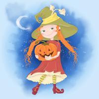 Gullig tecknad illustration med tjej häxa. Vykortaffischtryck för semestern Halloween. vektor